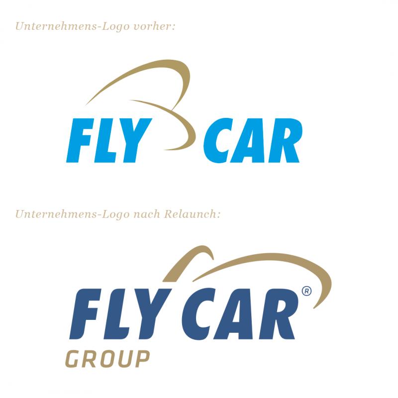 Vorher-Nachher Vergleich vom Logo Flycar durch Brandmaid